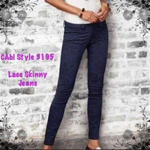 CAbi Lace Skinny Jeans, Style 3195 Sz 6 LIKE NEW